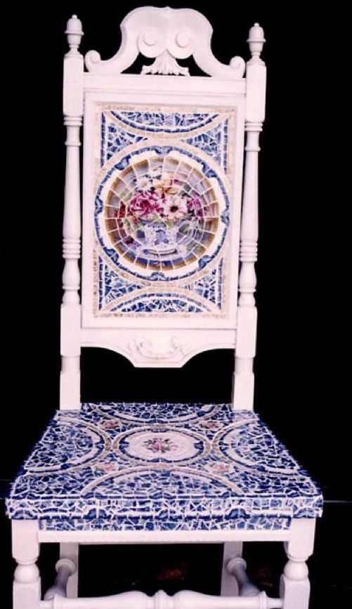 Mosaic Victorian Chair in Blue & White...  http://www.arcdesignsbyellen.com
