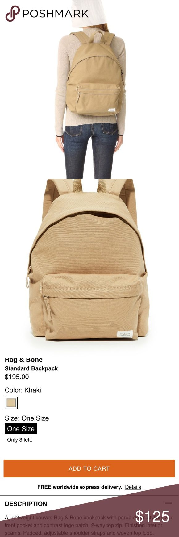 RAG & BONE backpack New! With tags, I did cut the store tag off and that's why I can return it, however it was never used. If you'd like anymore photos just ask! It is a very true tan color. Perfect neutral. An amazing chic gym bag. Purchased from shopbop. listed price is my lowest here on posh, I won't consider offers for this one, thanks! 💫 rag & bone Bags Backpacks