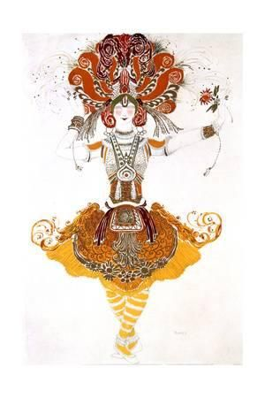 The Firebird, Costume Design for Tamara Karsavina in Stravinsky's Ballet the Firebird, 1910 Giclee Print by Leon Bakst at Art.com