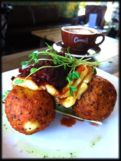Pawpaw Cafe, Brisbane - Generously rotund Quinoa and Potato Hash Cakes with slabs of briny Haloumi topped with sweet Beetroot Relish. And Campos coffee to boot!
