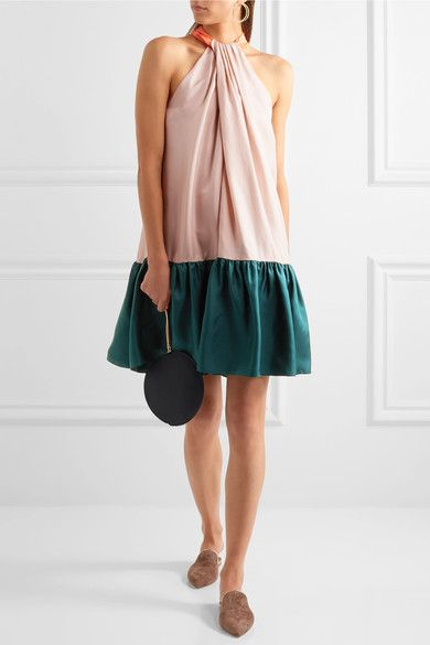 Roksanda - Elva Color-block Silk-twill Halterneck Dress - Blush - UK14