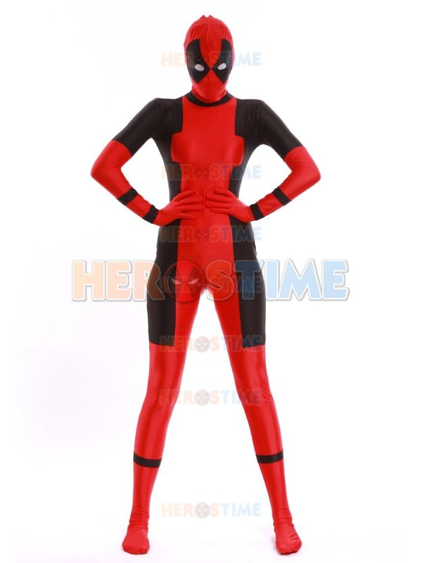 2014 Newest Lady Deadpool Costume Spandex Zentai Suit $44.00  I will get this frickin custom