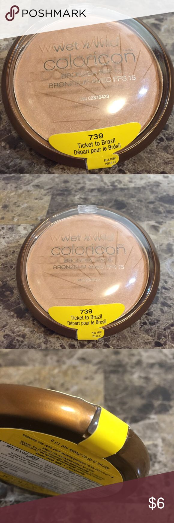 """Wet n Wild ColorIcon SPF 15 Bronzer! Bundle Item! Build your own makeup bundle item! New; never opened/swatched. Wet n Wild #739 'Ticket to Brazil' ColorIcon SPF 15 powder bronzer (0.46 oz). Comes in sealed compact. Swatch photos are from google. Bundle your favorite items from ANY of my """"build your own..."""" listings, & create your very own custom makeup bundle! Bundle must total $15 minimum, before discount. MUST BUNDLE; no individual purchase! No trades! Wet n Wild Makeup Bronzer"""