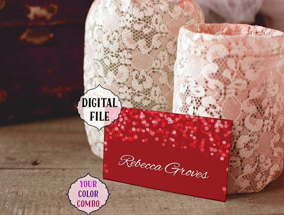 Red place cards DIGITAL confetti red confetti wedding