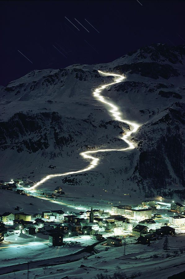 Night skiing in Val d'Isere, France.