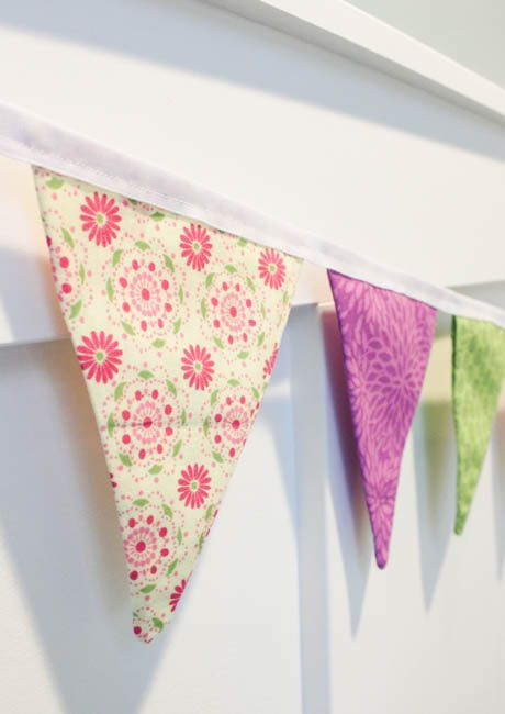 How to sew a double sided fabric pennant or bunting banner tutorial at The Happy Housie-3
