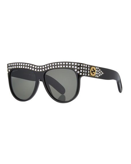 ee9f754e53c Swarovski Crystal Square Logo Sunglasses