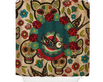 Sugar Skull Shower Curtain Teal Girl Skull Pretty by FolkandFunky