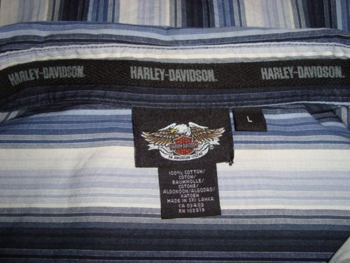 HARLEY-DAVIDSON-Striped-Cotton-Skulls-Embroidered-Long-Sleeve-Mens-Shirt-Size-L