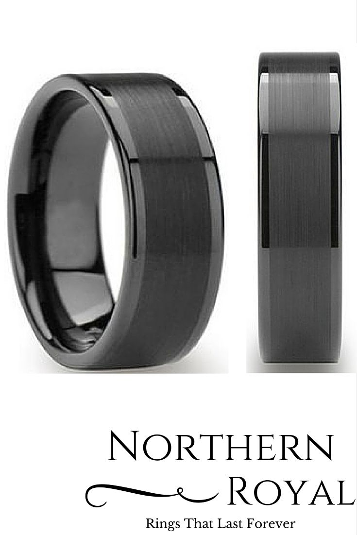 I love this all black tungsten ring with a brushed center and polished edges! This is one sweet mens wedding ring.