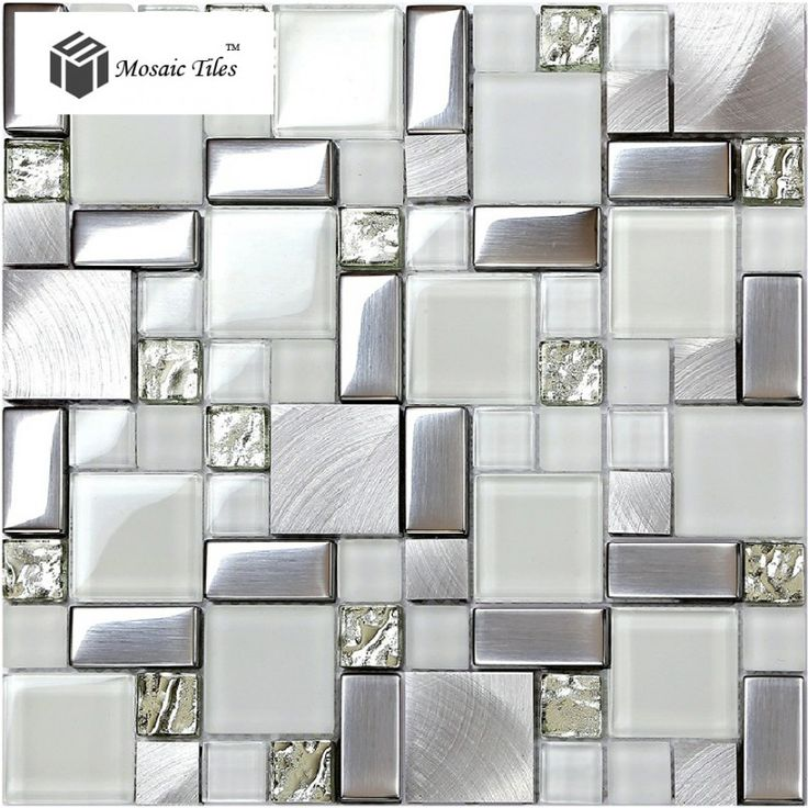 TST Glass Metal Tile Frosted Silver Steel Glitter Bathroom Deco Art Mosaics