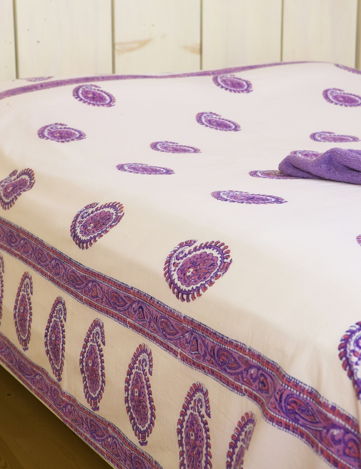 Twin Size Flat Sheet - Purple Bed Sheets - Hand Block Printed from Attiser