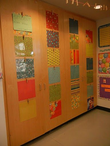 Laminate scrapbook paper for student work wall (put on ugly brown cabinets?)