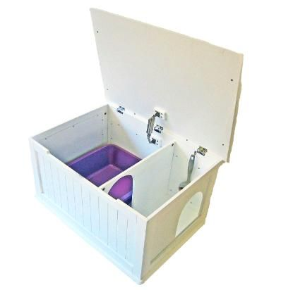 """Litter Box - Designer Catbox  Size of the Designer Catbox: 29.1"""" length by 20.6"""" width by 20.8"""" height. Cat entrance holes are 7.5"""" wide by 8"""" high to fit large cats. Interior dimensions of Designer Catbox are: 26.4"""" length by 18.5"""" width by 14.2"""" height."""