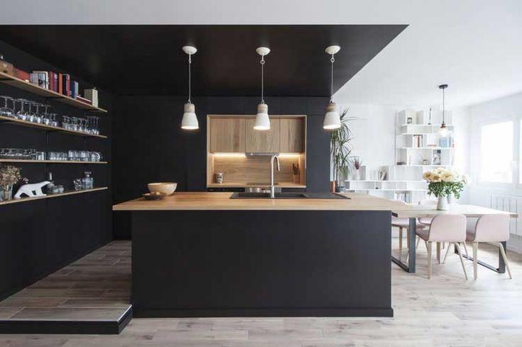 cuisine noire et bois exemple de r alisaton dans un appartement deco cuisine pinterest. Black Bedroom Furniture Sets. Home Design Ideas