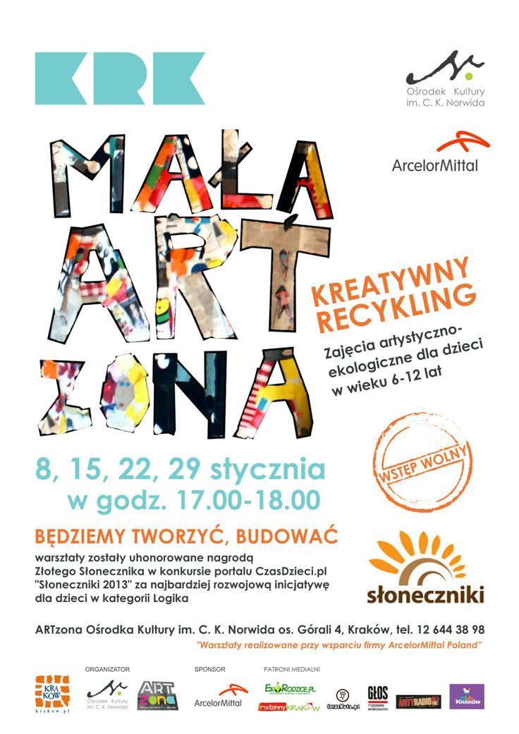 Na warsztaty artystyczno-ekologiczne zapraszamy dzieciaki w wieku 6-12 lat w każdą środę o godz. 17.00 do ARTzony OKN (os. Górali 4). Dzięki wsparciu firmy ArcelorMittal wstęp na zajęcia jest bezpłatny! :-) http://www.artzona.okn.edu.pl/?m=projects&d=czytaj&id=37&p=Mala_ARTzona