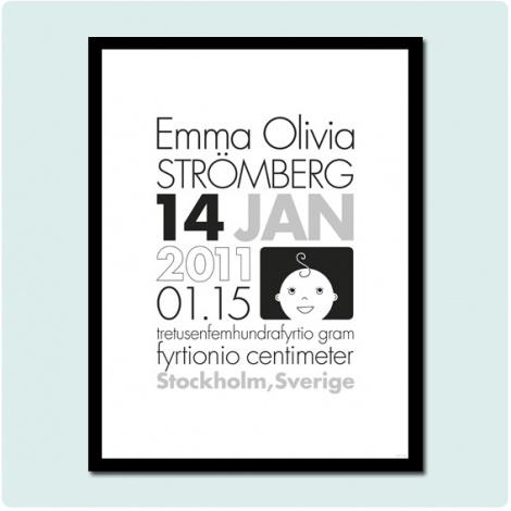 Namntavla svart-vit av #fröken form på #NordicDesignCollective #poster #blackandwhite