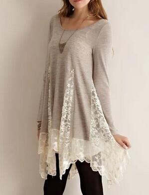 Grey Round Neck Long Sleeve Lace Dress 15.45