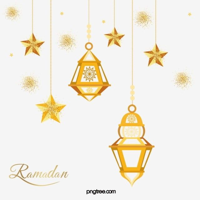 Cartoon Golden Ramadan Stars Lantern Hanging Border Ramadan Moon Muslim Png And Vector With Transparent Background For Free Download In 2020 Star Lanterns Flower Frame Lanterns