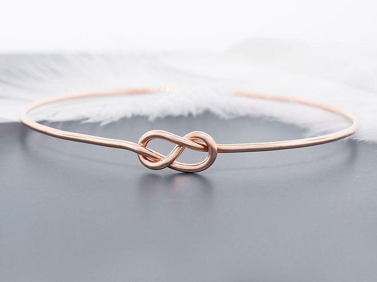 Rose Gold Bracelet Bangle Solid 14k Gold Love Knot