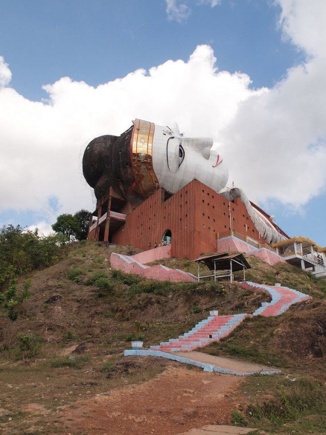 Win Sein Tawra:The largest reclining Buddha image in the world, Win Sein Taw Ya, is situated about 20 km south of Mawlamyine on the main road to Mudon. It can be clearly seen for miles as you leave Mudon for Mawlamyine on the right side of the road in amongst the hills almost directly opposite the hill top Buddhist shrine of Kyauktalon Taung