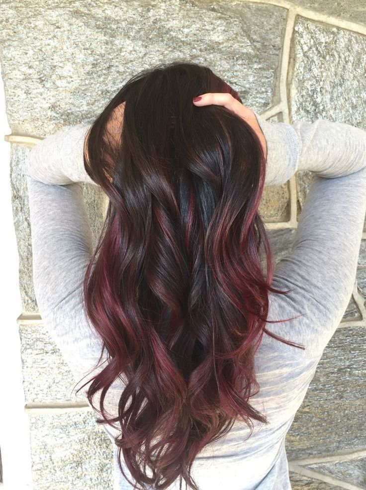 Beautiful dark brown, red, mahogany ombré long wavy hairstyle @maddiholk