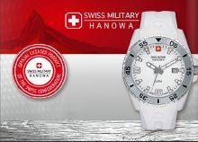 Swiss Military Hanowa fehér férfi luxus karóra dátum kijelzéssel