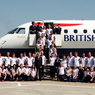 We were proud to fly the Team GB swimmers into London ahead of the London 2012 Olympic Games. They were greeted with a water salute from the emergency services as the aircraft taxied along the runway and onto its stand.