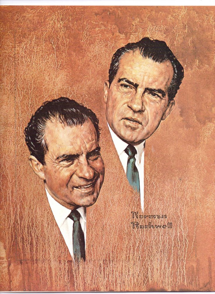 Richard Nixon and Mc Carthy and Humphrey from the book Norman Rockwell's America by Blossomsvintageprint on Etsy