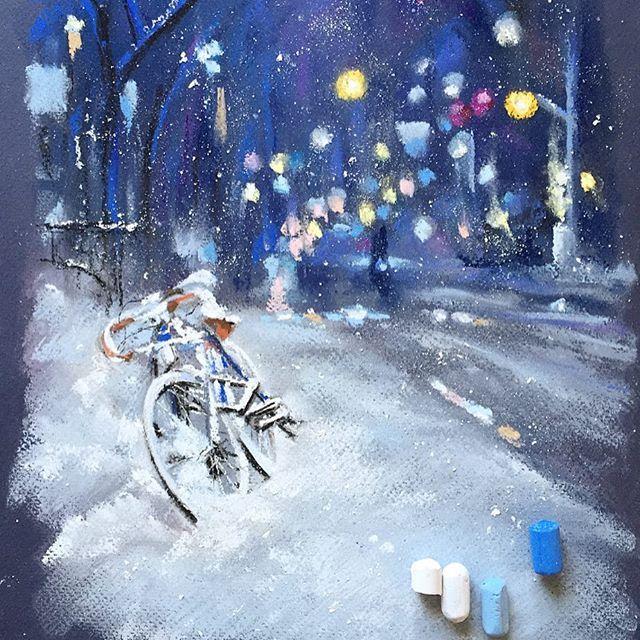 С первой рабочей неделей в этом году!✌️#пастель #арт #рисуюпастелью #зима #велосипед #снег #softpastels #softpastel #pastelpainting #snow