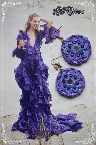 MEDALLION Earrings Hand dyed vintage crochet lace earrings