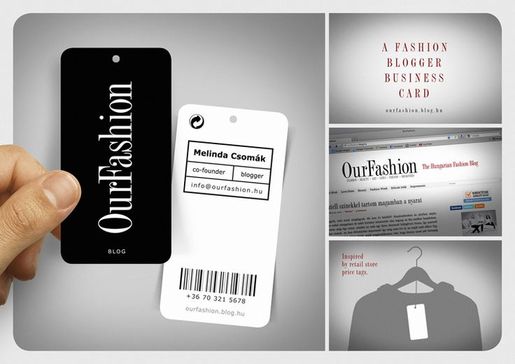 Unique Business Cards: A fashion blogger's business card, in the style of a clothing tag.