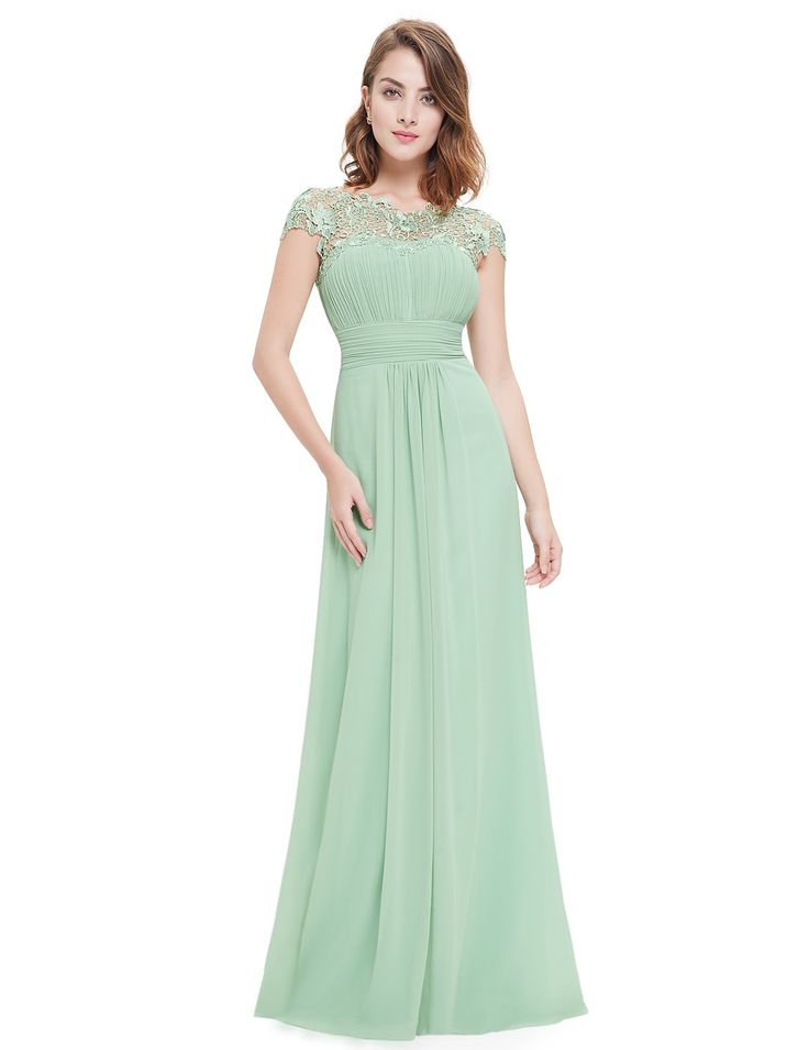 Lace Cap Sleeve Evening Gown