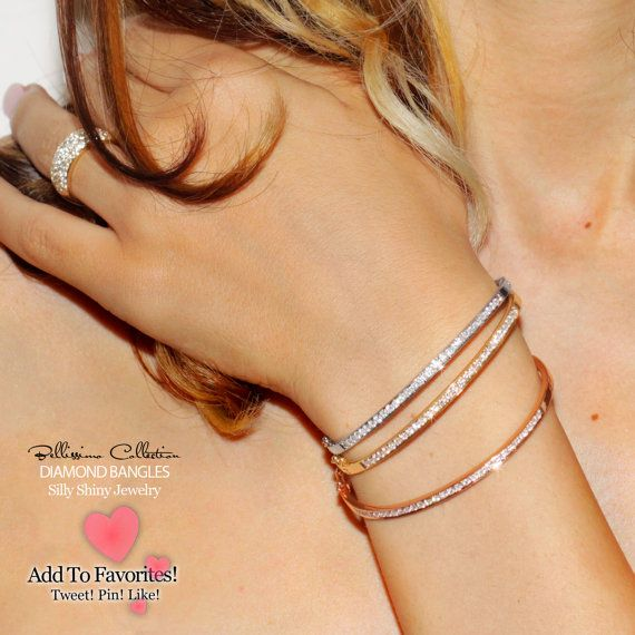 Pave Diamonds Bangle in White Rose or Yellow 14K by SillyShiny, $1999.00