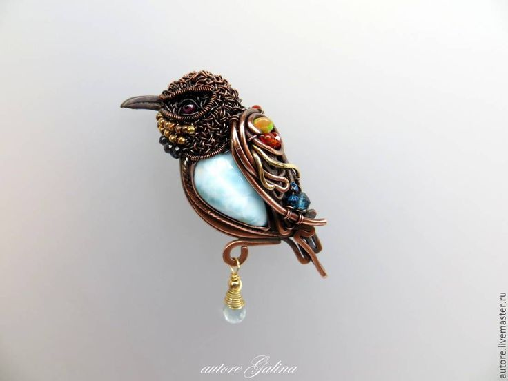 Buy Schurko zolotistaya.Brosh with Larimar - turquoise brooch with Larimar, bee-eater Brooch Larimar