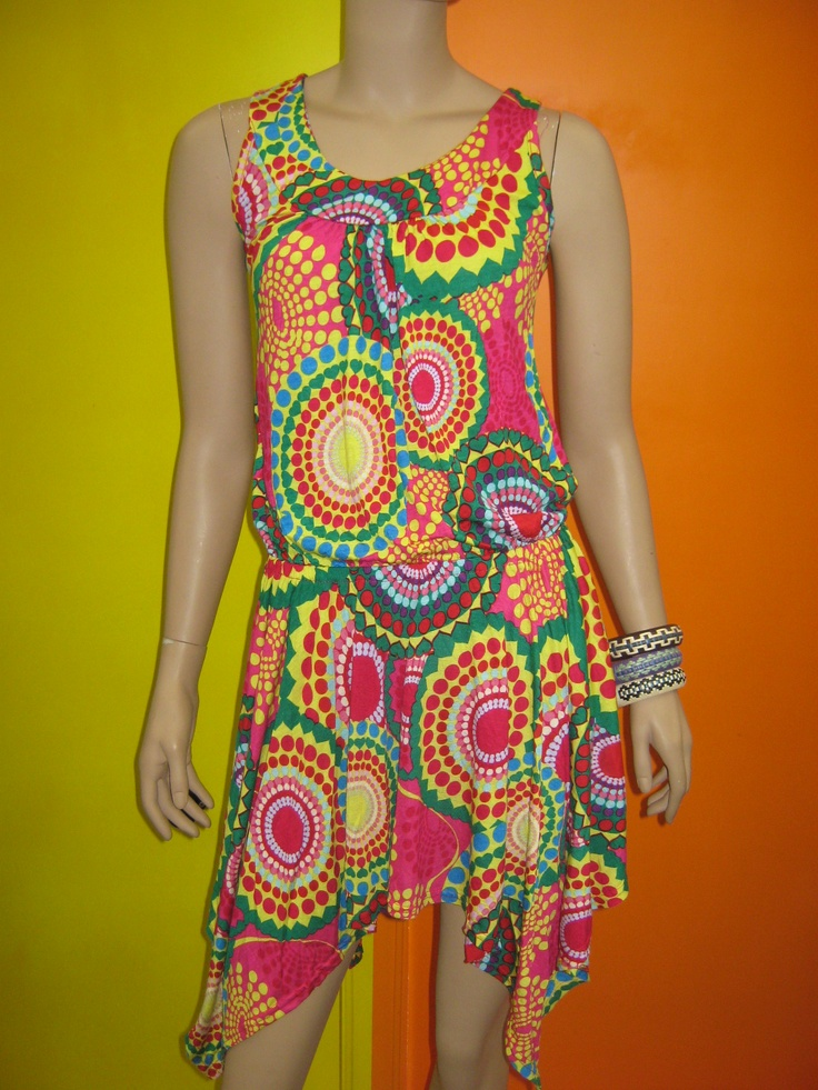 B2666 Sleeve-less dress ,fashion print  Polyester 95%  Spandex 5%