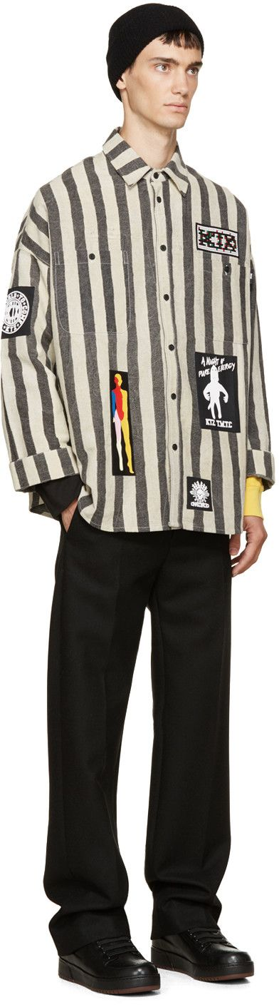 KTZ Black & Beige Striped Overshirt