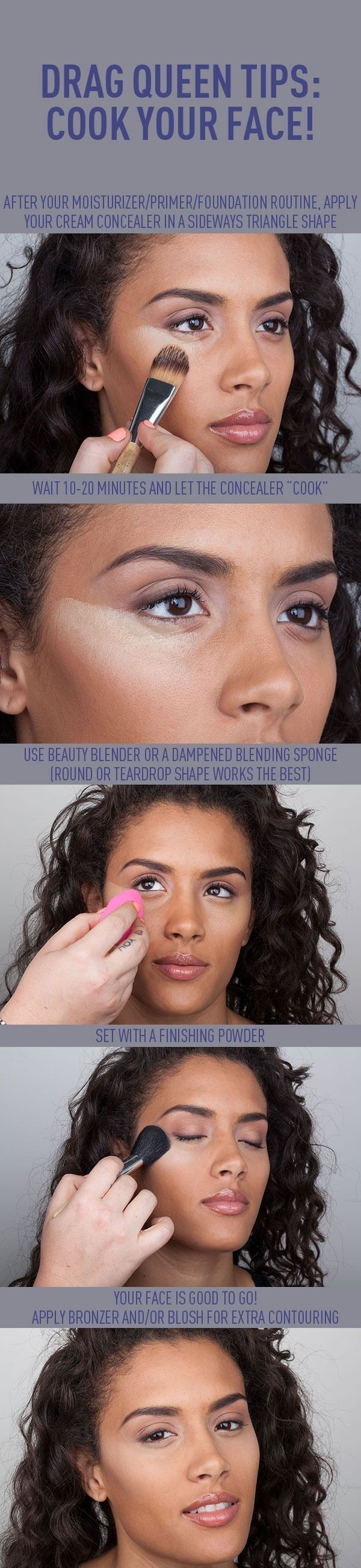 "Let your concealer ""cook"" (or, oxidize and slowly melt) on your face for a few minutes. 