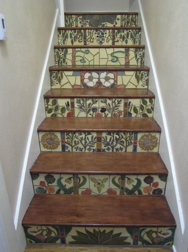Revival Tileworks: handmade tile of historic and original design - Stair Risers: Eclectic Mission Craftsman