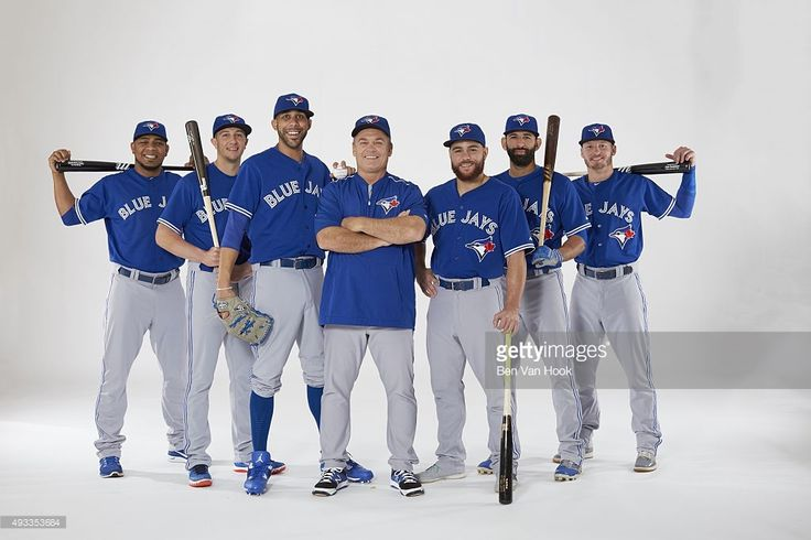 Portrait of Toronto Blue Jays manager John Gibbons (5) with (L-R) designated hitter Edwin Encarnacion (10), shortstop Troy Tulowitzki (2), pitcher David Price (14), catcher Russell Martin (55), rightfielder Jose Bautista (19), and third baseman Josh Donaldson (20) during team photo shoot at Tropicana Field. Ben Van Hook TK1 )