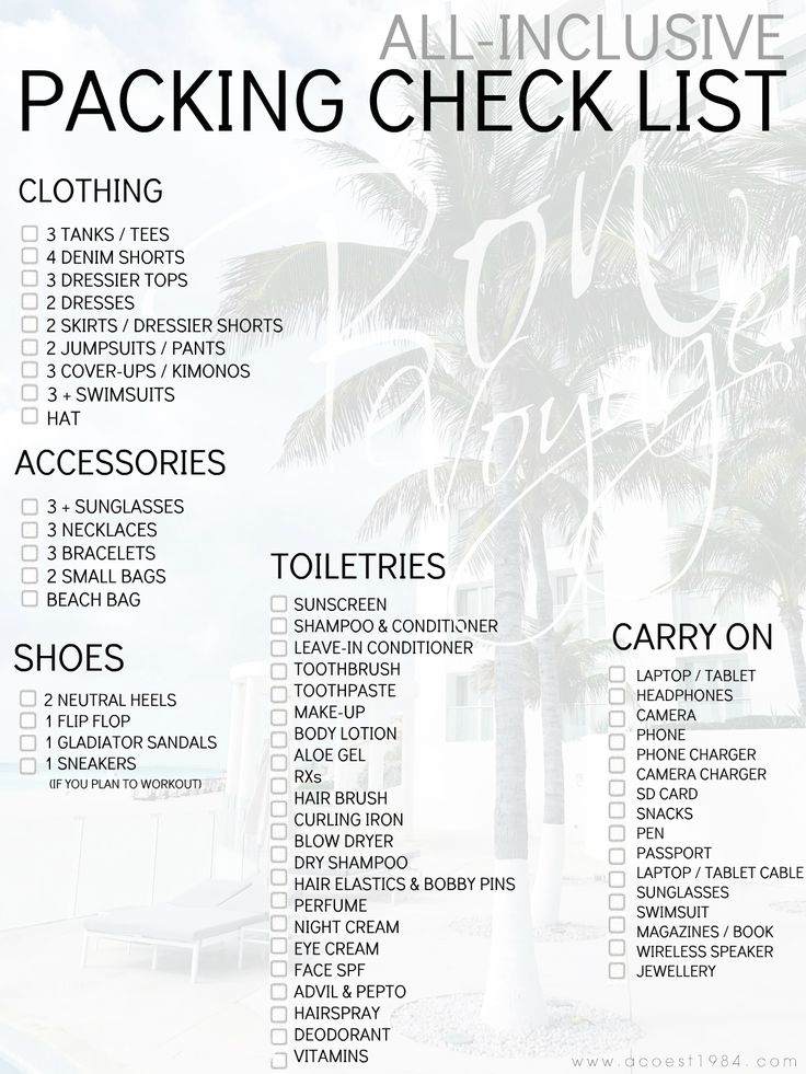 what to pack for an all inclusive vacation // fashion blogger packing list