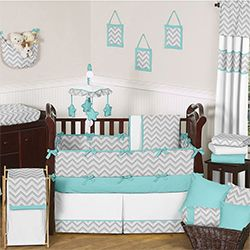 I Want for Connor!   Sweet JoJo Designs Grey and Turquoise Zig Zag 9-Piece Crib Bedding Set