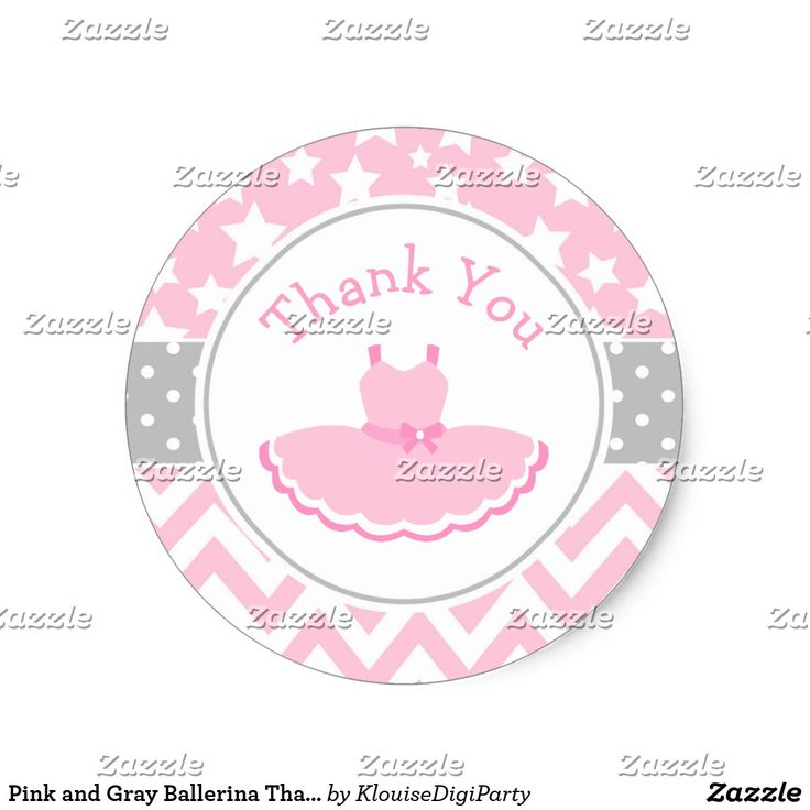 Pink and Gray Ballerina Thank You Baby Shower Classic Round Sticker