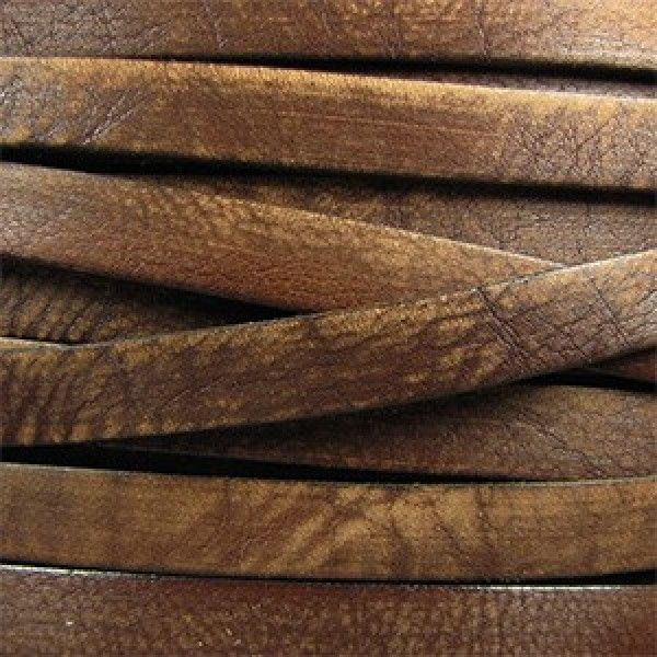 10mm Flat Vintage Leather Cord - Brown