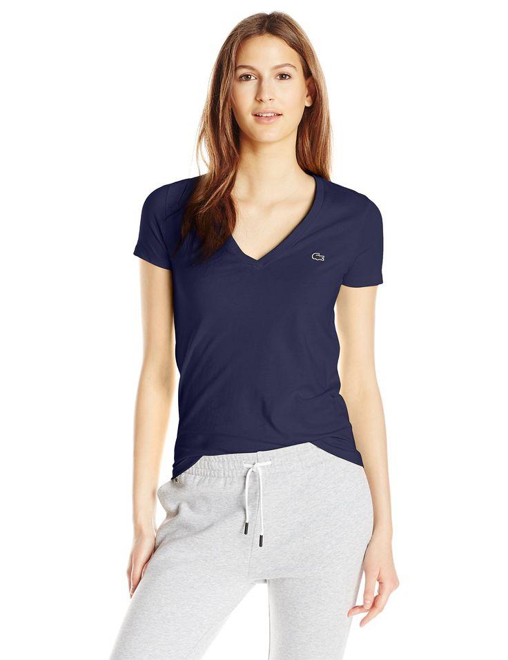 Lacoste Women's Short Sleeve Cotton Jersey V-Neck T-Shirt, Navy Blue, 32