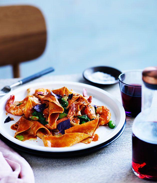 One Ford Street's spelt maltagliati with tiger prawns and shellfish sauce :: Gourmet Traveller