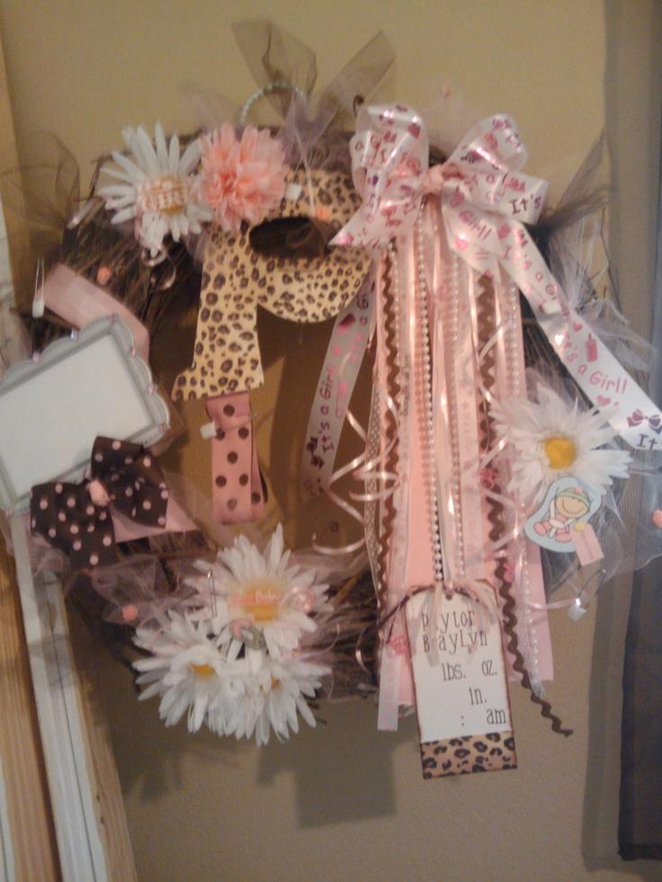 Custom Personalized Girls Pink and Brown Cheetah print Baby Door Hospital Birth Wreath. $75.00, via Etsy.