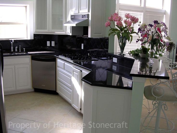 Find This Pin And More On Kitchen White Cupboards Black Granite By  Fairystars