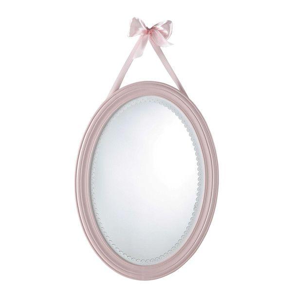 Miroir ovale en bois rose H 55 cm ...