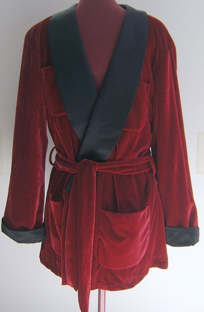 Playboy Mens Smoking Jacket Costume Halloween Hugh Hefner Adult Robe Red One Sz #PlayboyCostume #SmokingJacket